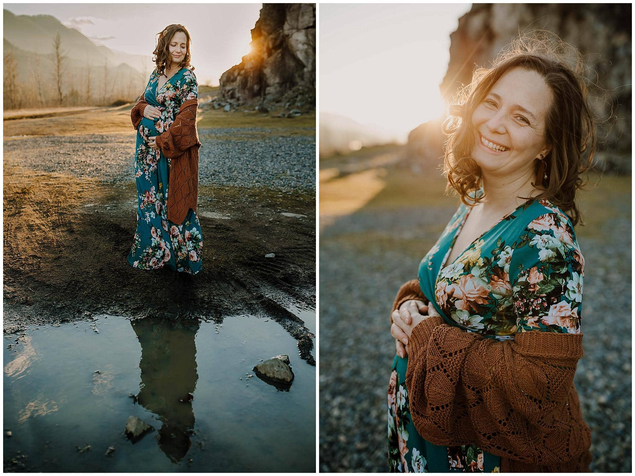 Beautiful pregnant mom holding belly with her reflection in the water in front of her