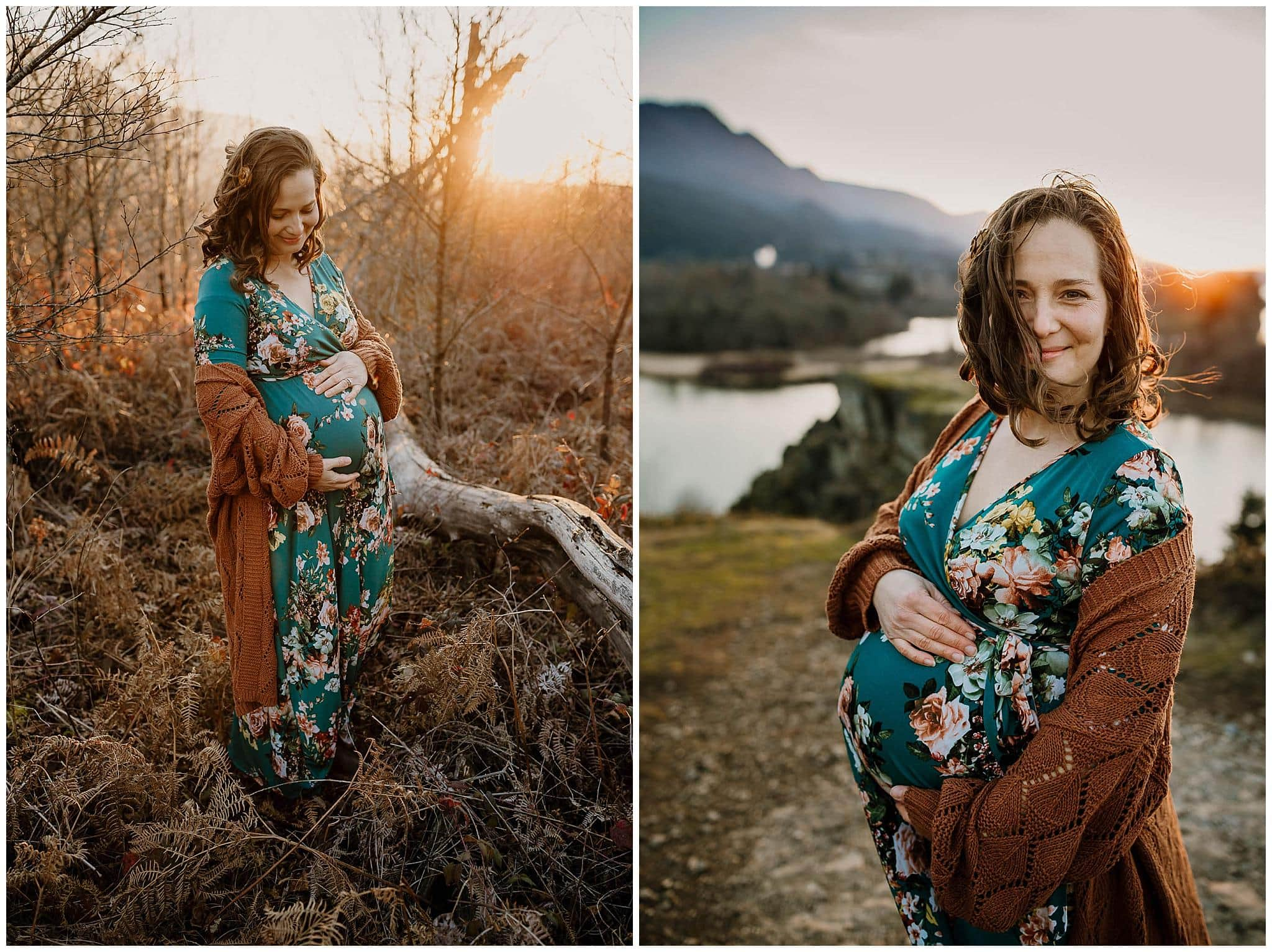 pregnancy photo of mom hugging her belly and smiling while the wind blows her hair