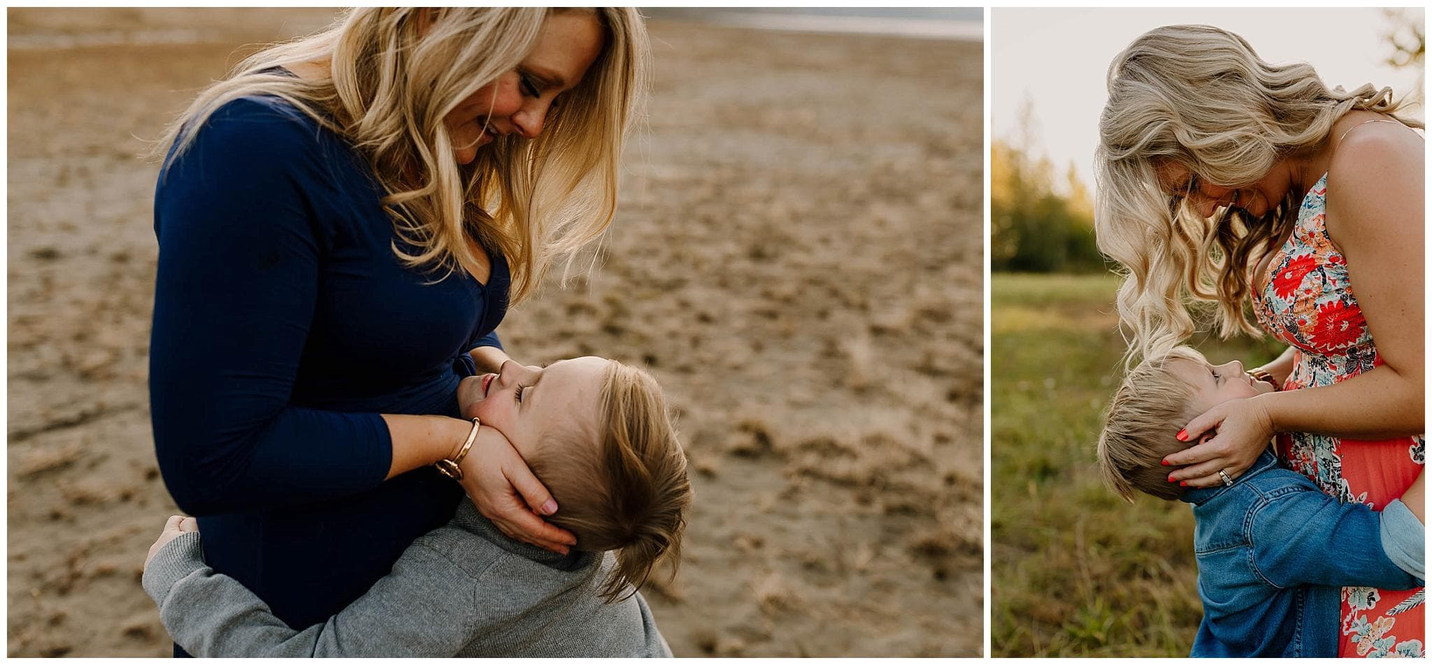 Two photos of the same mom and young son where he's looking up at her and shes holding his face - Portland family photoshoot