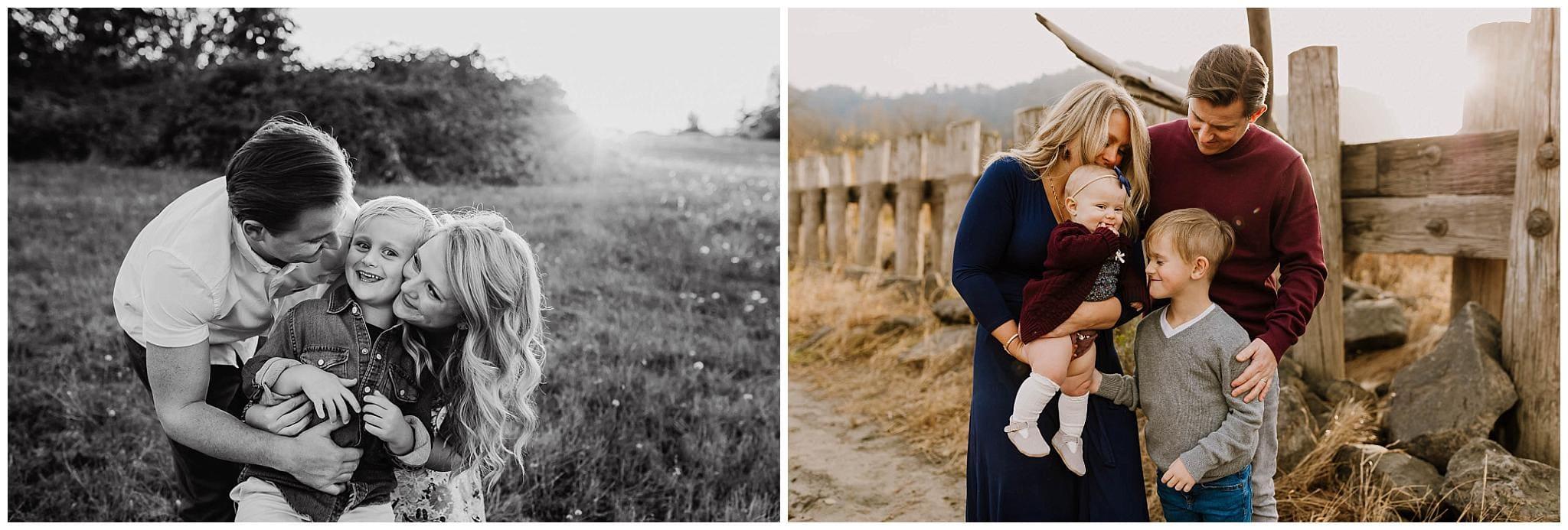 two photos of a portland family taken a year apart