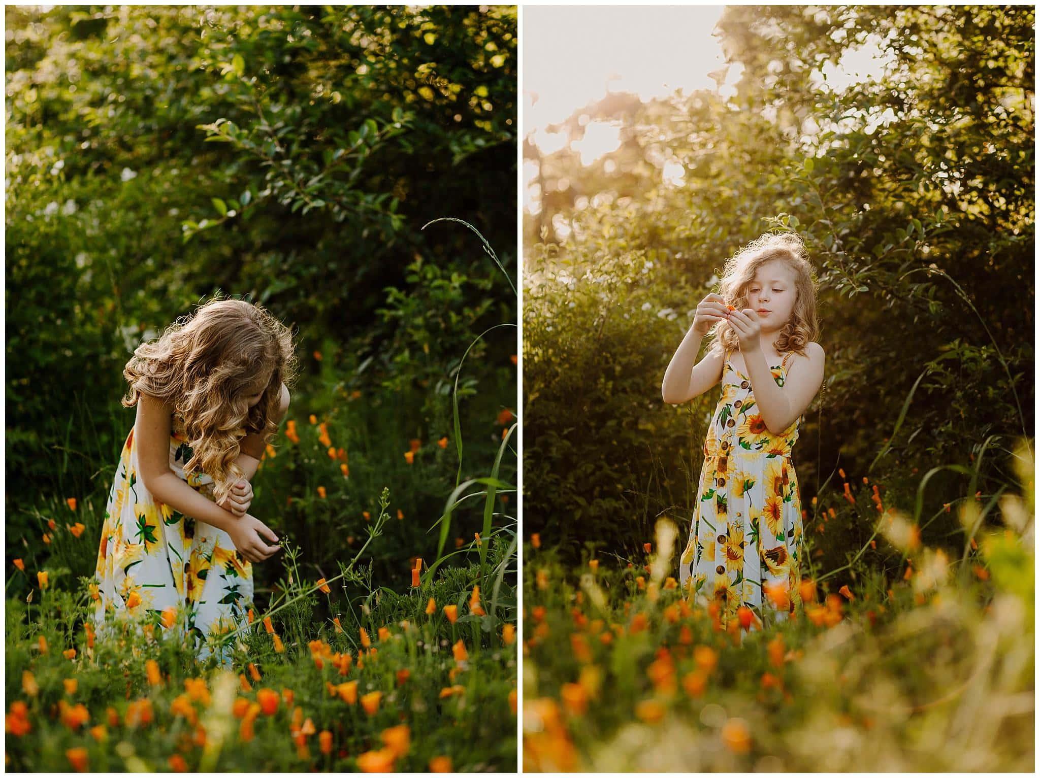 Little girl in a poppy field