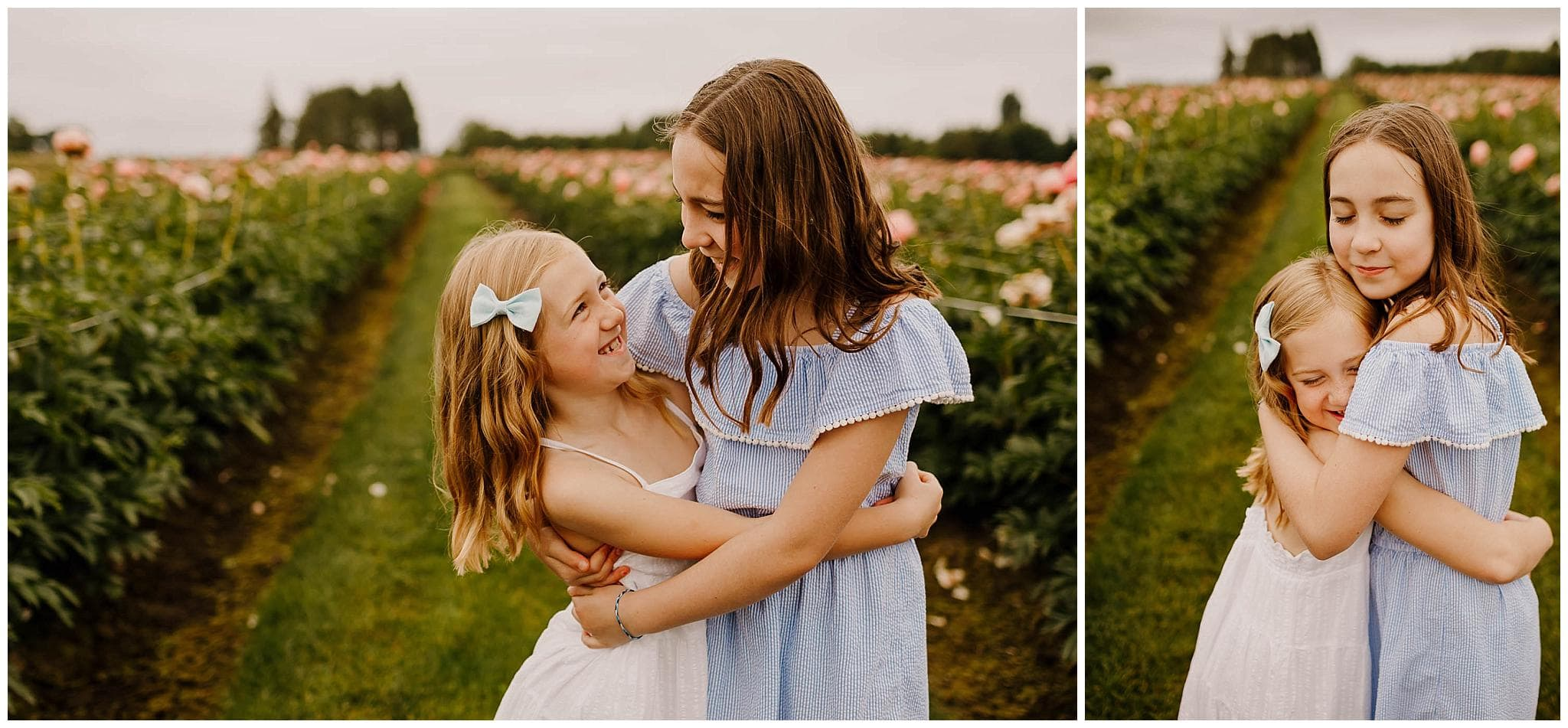 two sisters hugging and laughing in spring peony field near portland