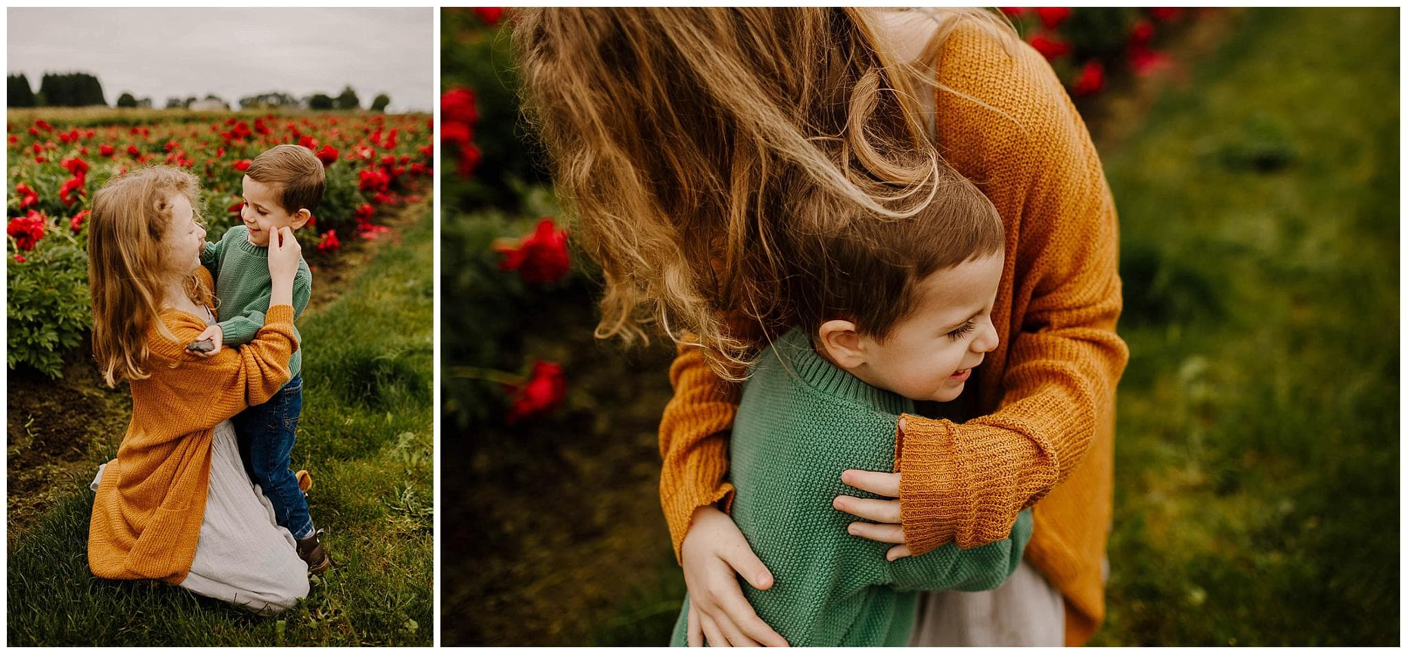 little girl and toddler boy hugging in a field of peonies in oregon in the spring