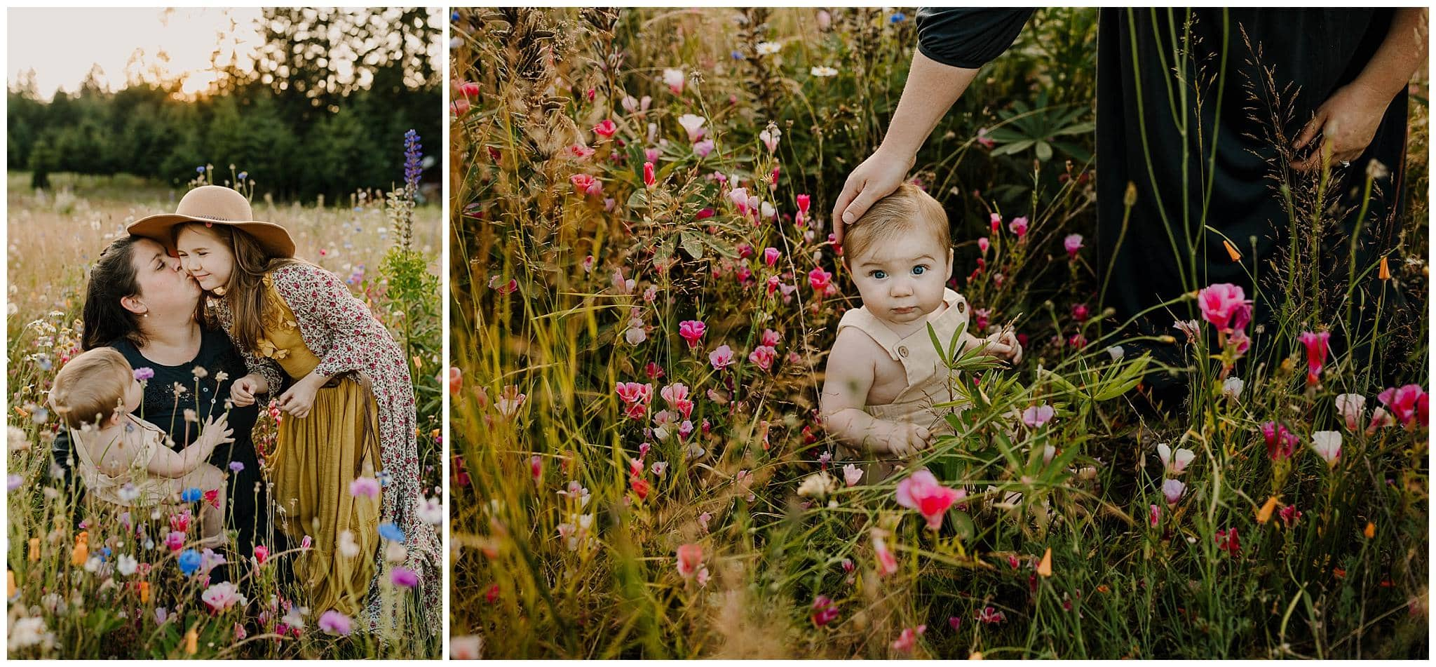 Mommy and me photo session in a field of spring flowers in portland