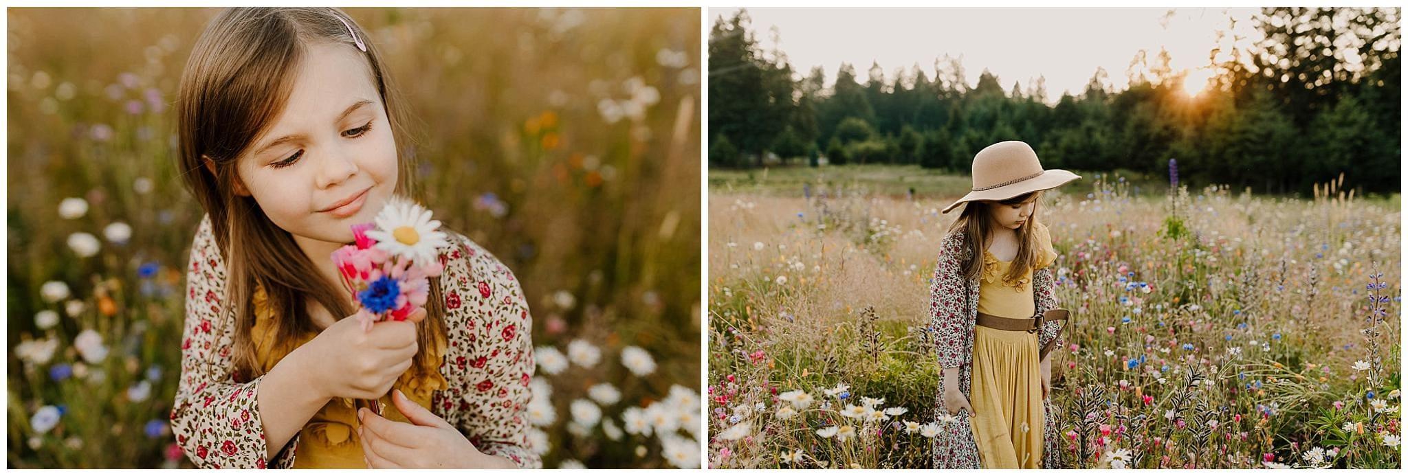 Little girl smelling flowers in a wildflower field in portland