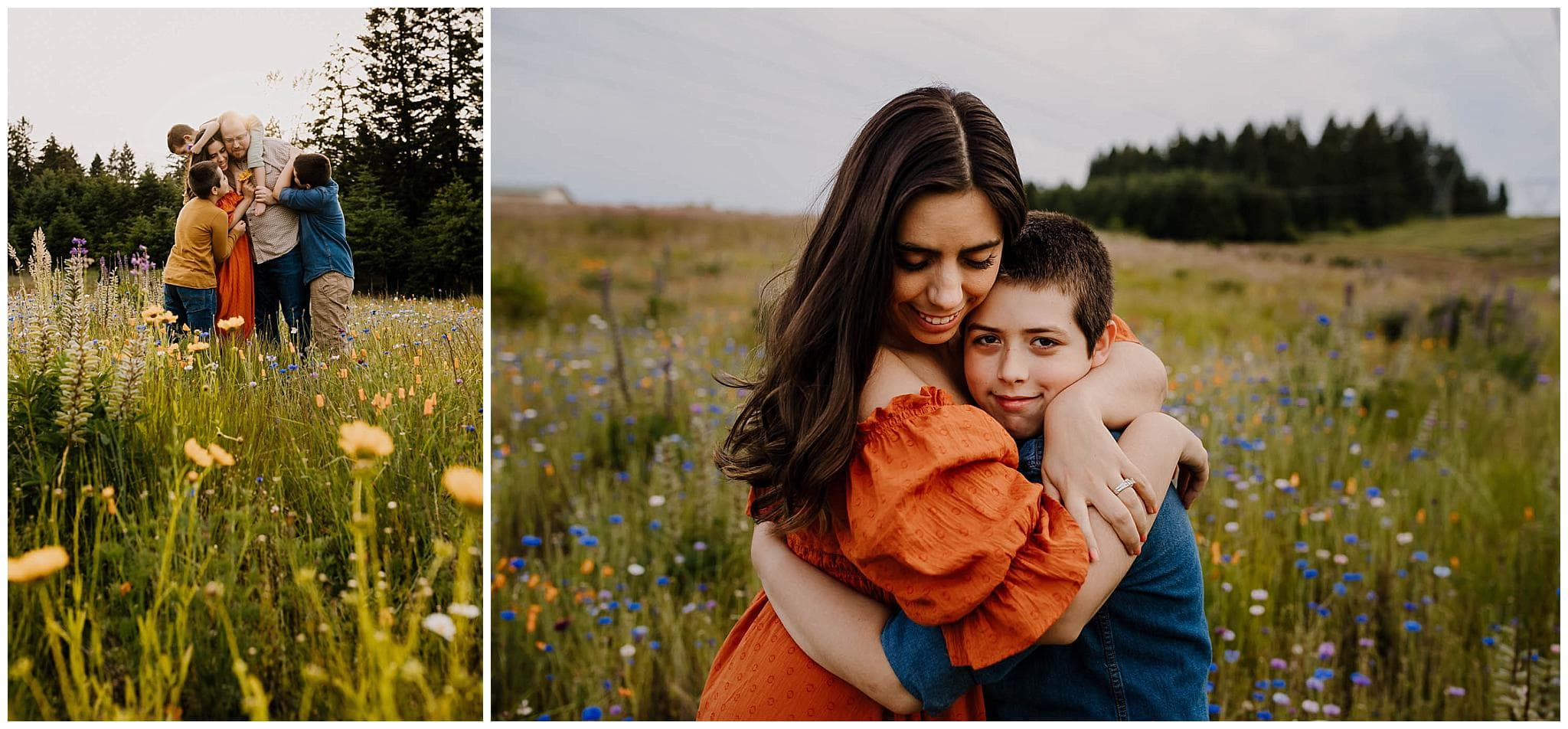 Family of five hugging in a huge field of wildflowers near portland oregon in late spring