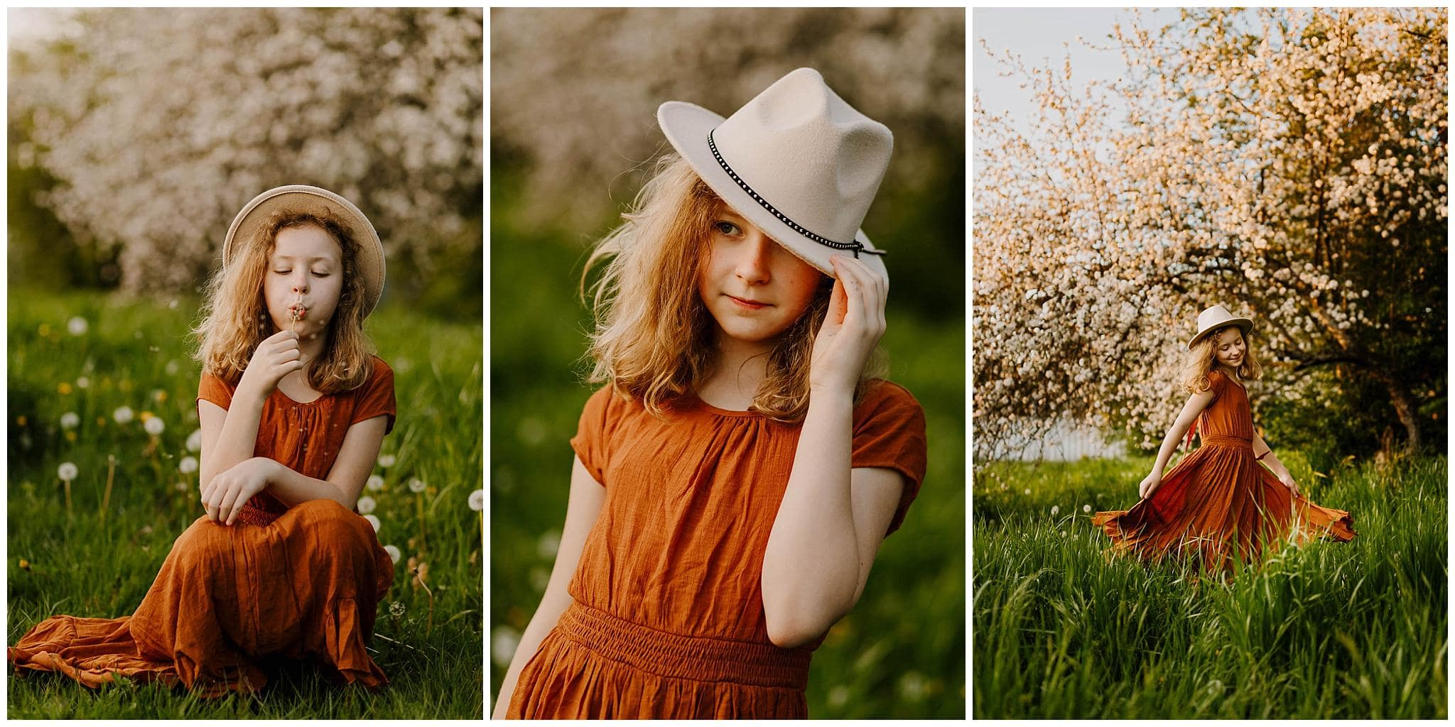 three photos of little girl in the spring with green grass and cherry blossoms in portland