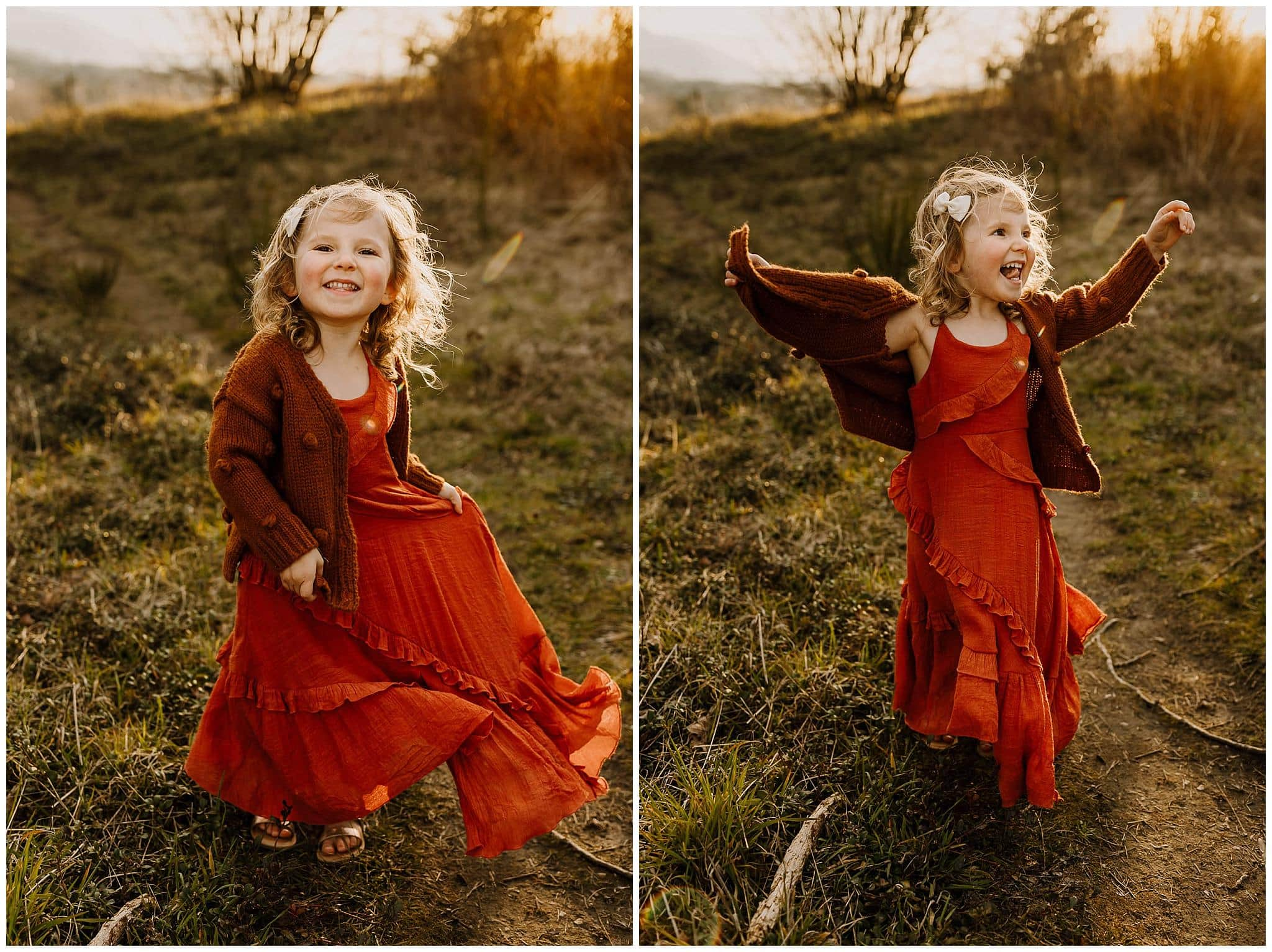 happy and awake little girl during sunset family photos
