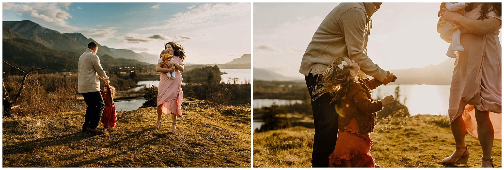 family dancing in the sunset during adventure family photos