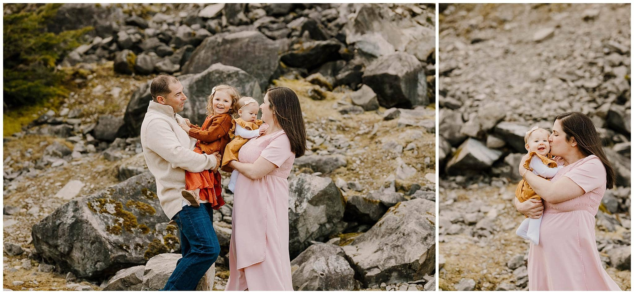 family with two young kids hugging by rocks near portland oregon