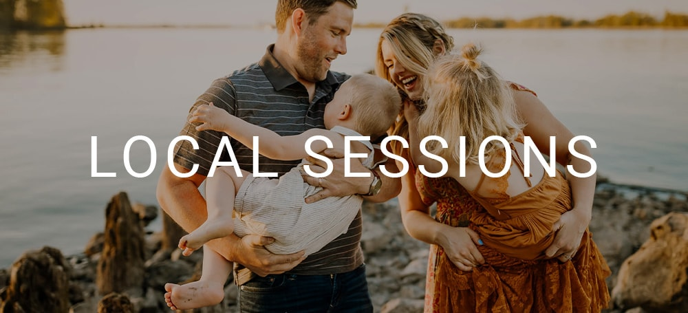 Image of family laughing together and playing with the words Local Sessions over it
