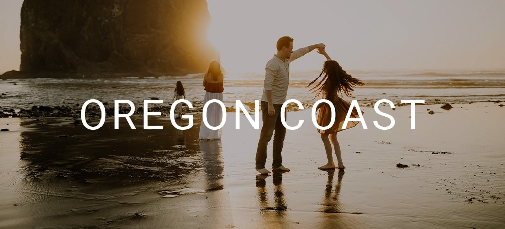 Photo at the oregon coast at sunset of a family dancing together