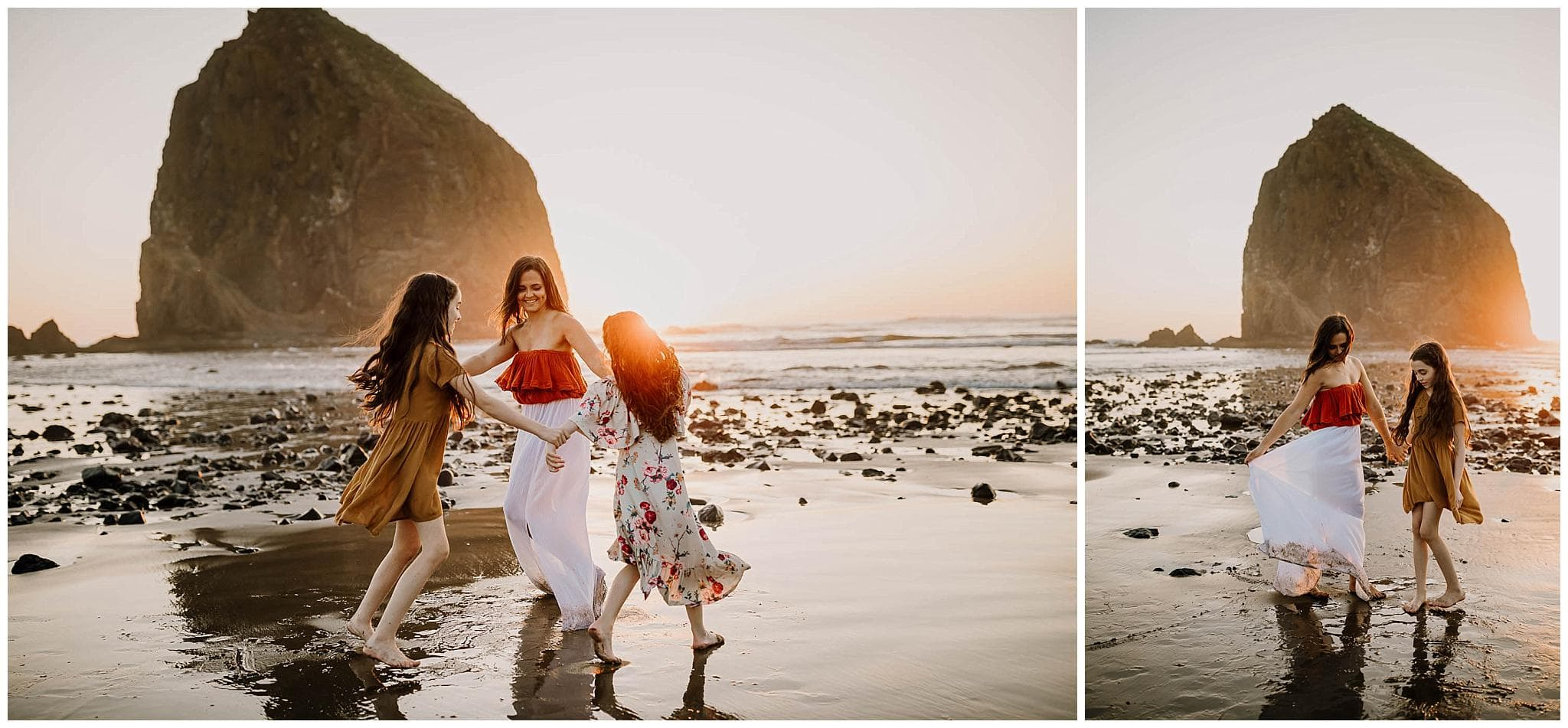 mom dancing with her two girls in dresses at the coast in oregon