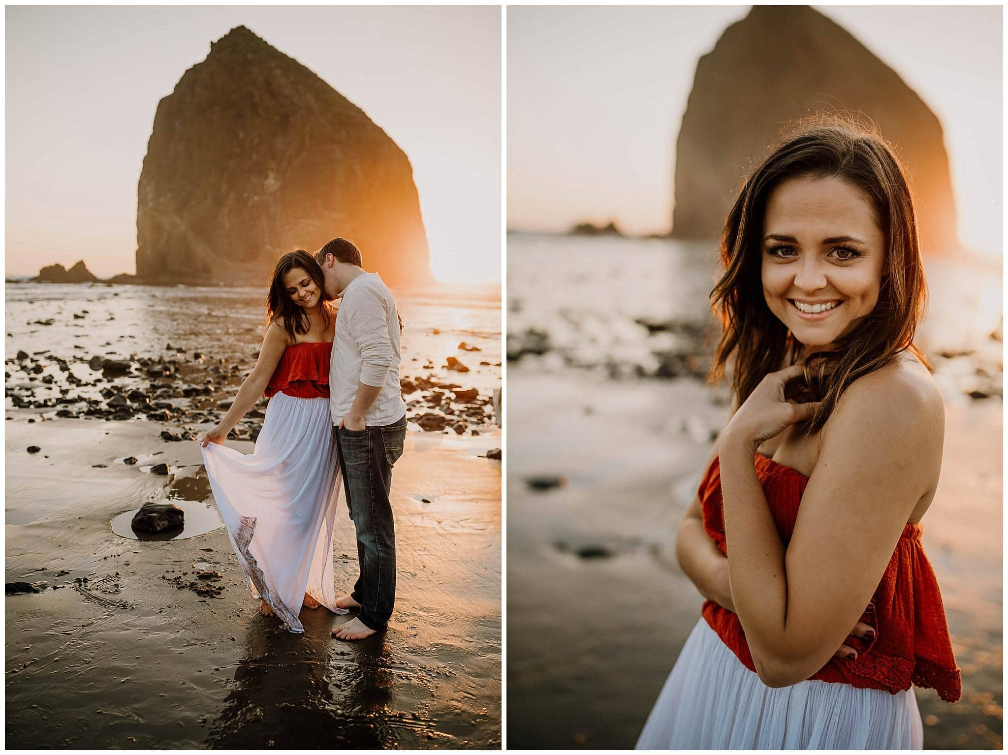 couple hugging with haystack rock in the distance