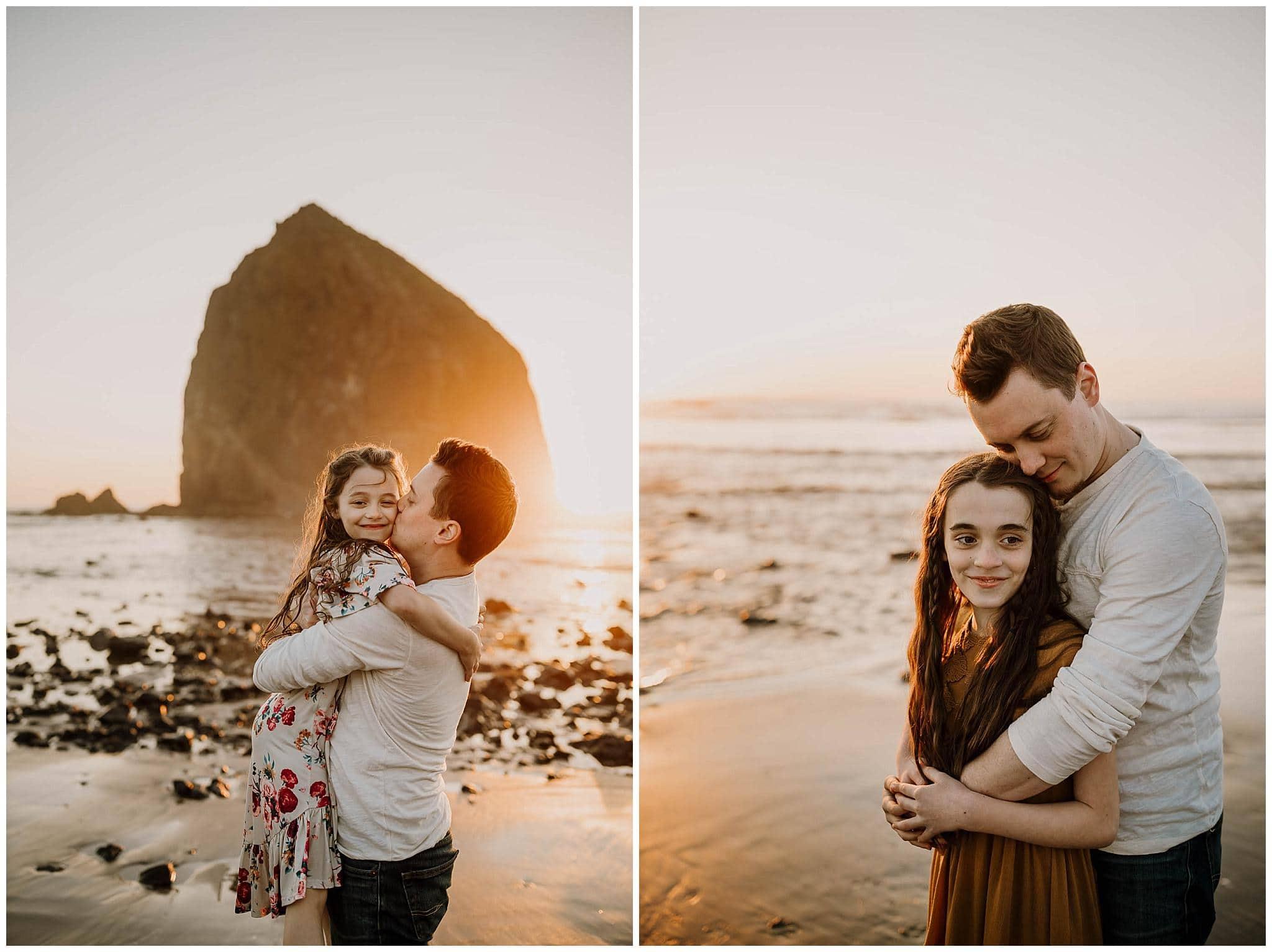 sunset family photography on the oregon coast