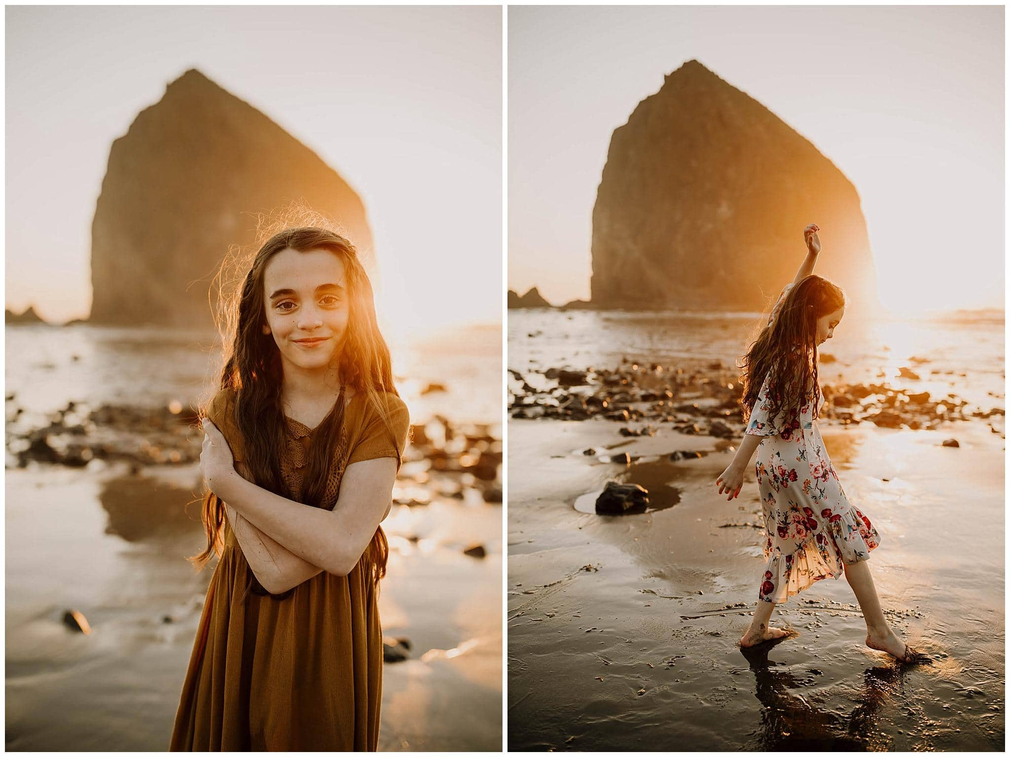 photos of sisters at sunset at cannon beach