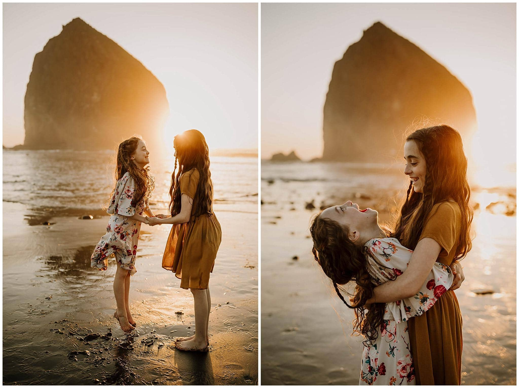 two sisters laughing together at the oregon coast