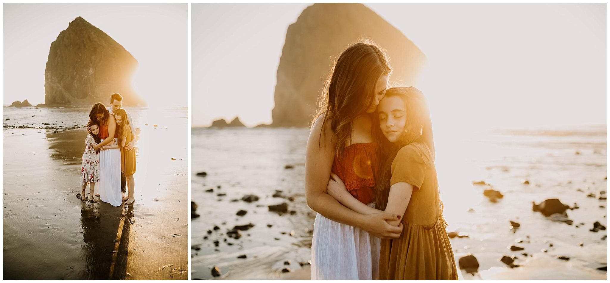 Family of four hugging with the sunlight coming through  - Oregon Coast Photographer