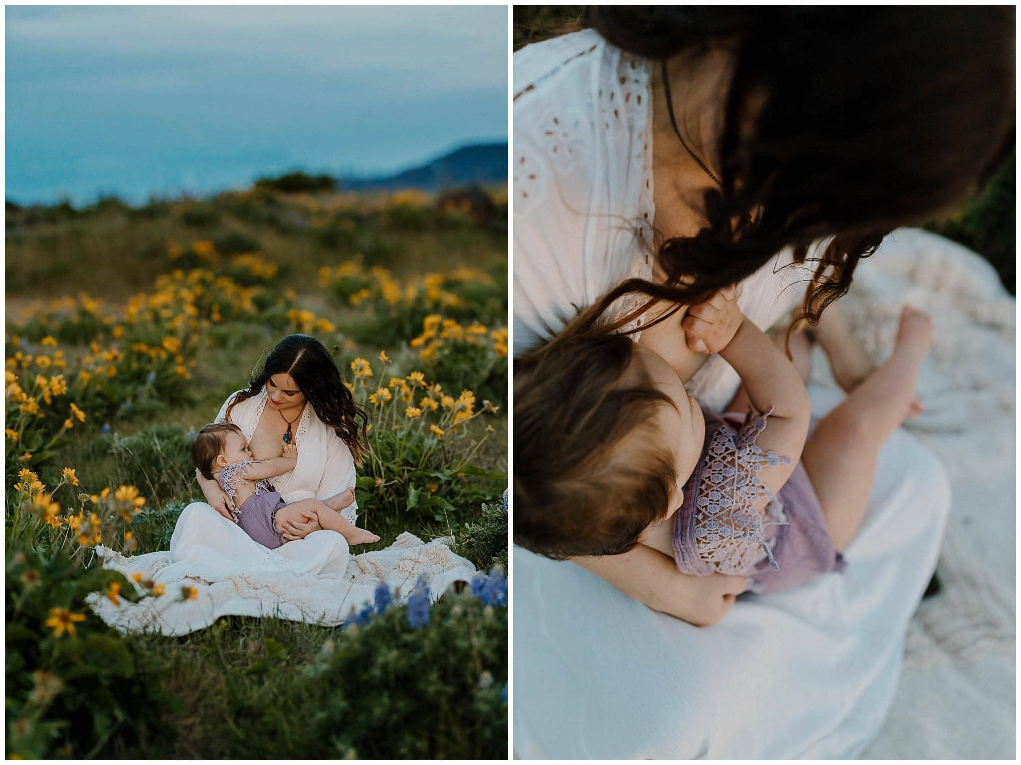 mom nursing her baby girl in the wildflowers in the gorge