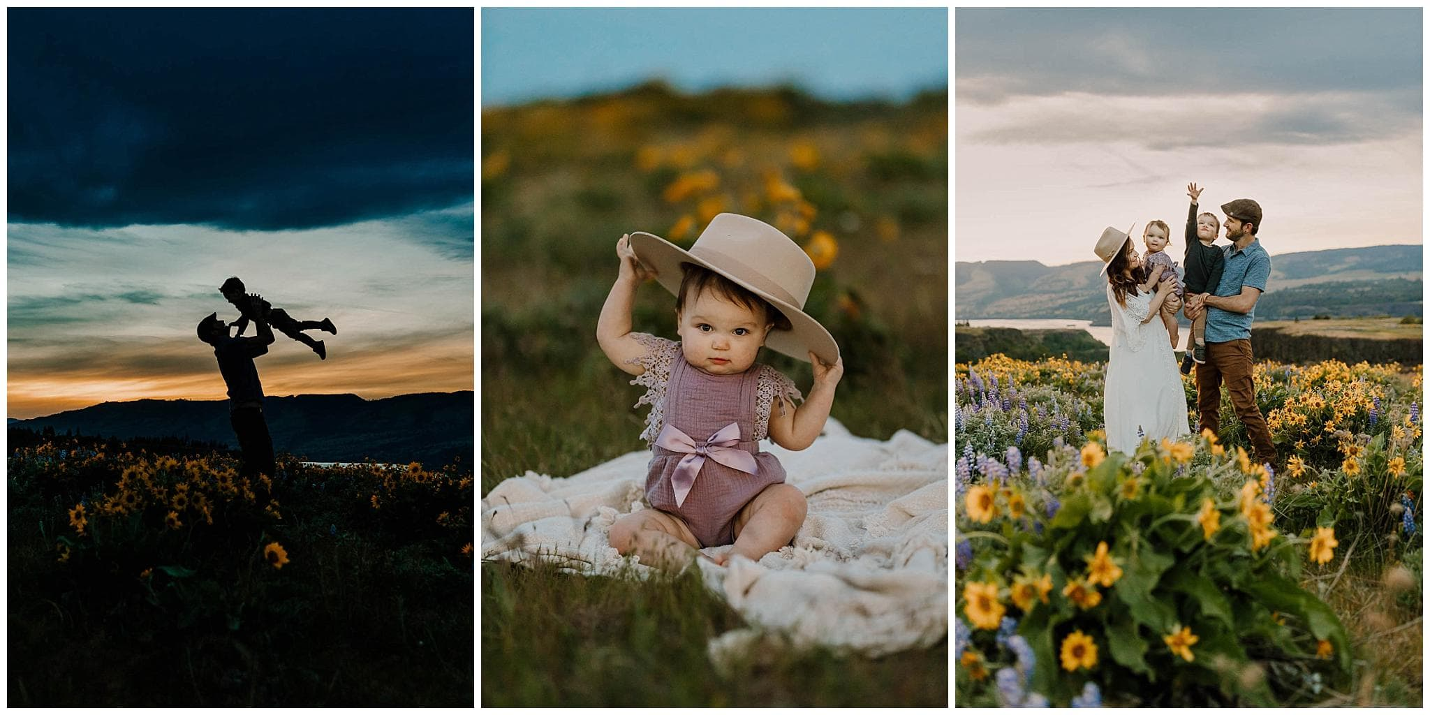 Collage of family photos in the columbia river gorge