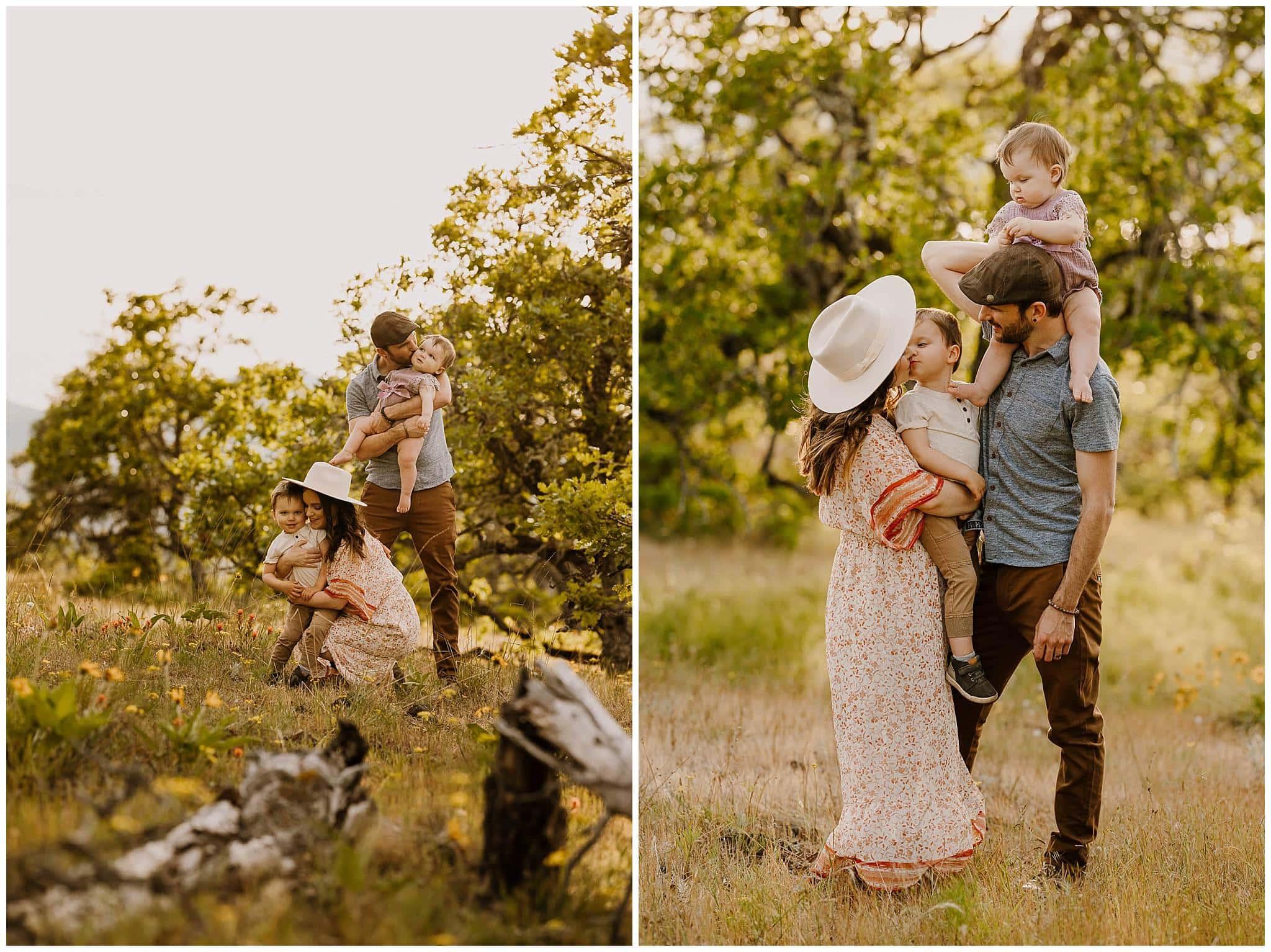 Family photos in Mosier, Oregon during wildflower season