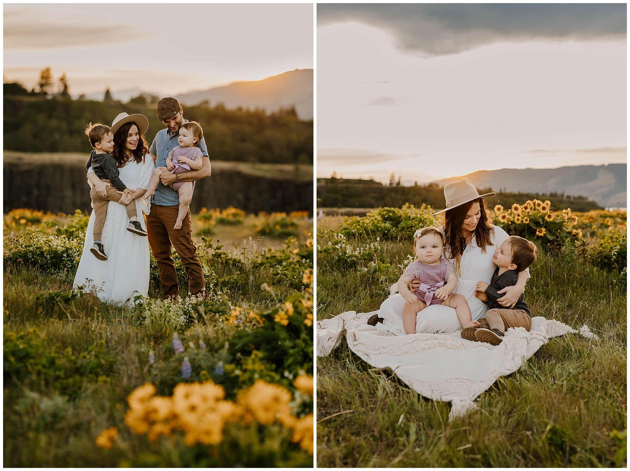 Family photos in the purple and yellow wildflowers at rowena crest oregon