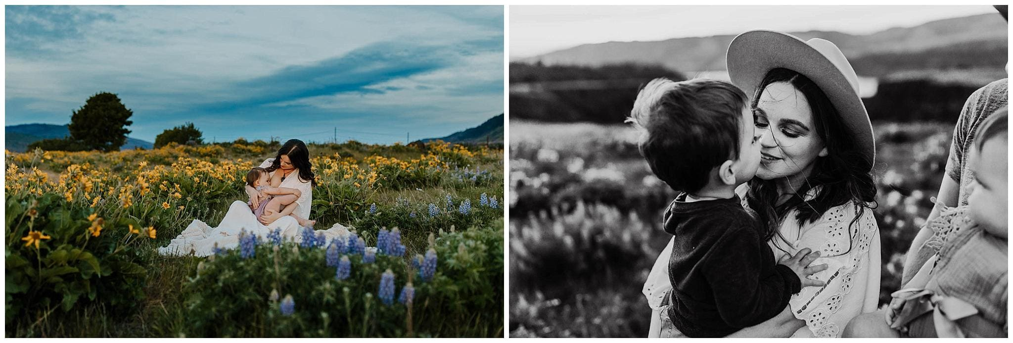 Mom with her kids in the lupine and sunflowers at rowena crest